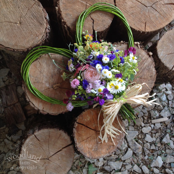 willow heart wreath with wildflowers