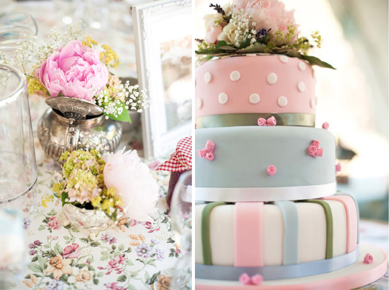 vintage flowers and cake