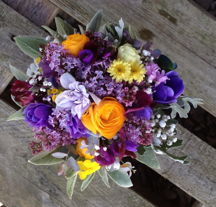 spring bouquet with blues, purples and yellow